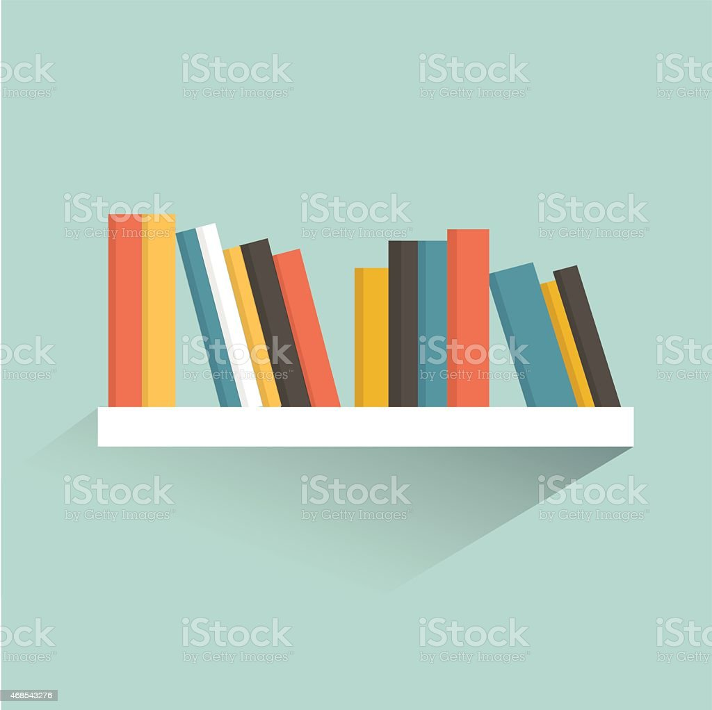 Book shelf. Flat design. Vector. vector art illustration