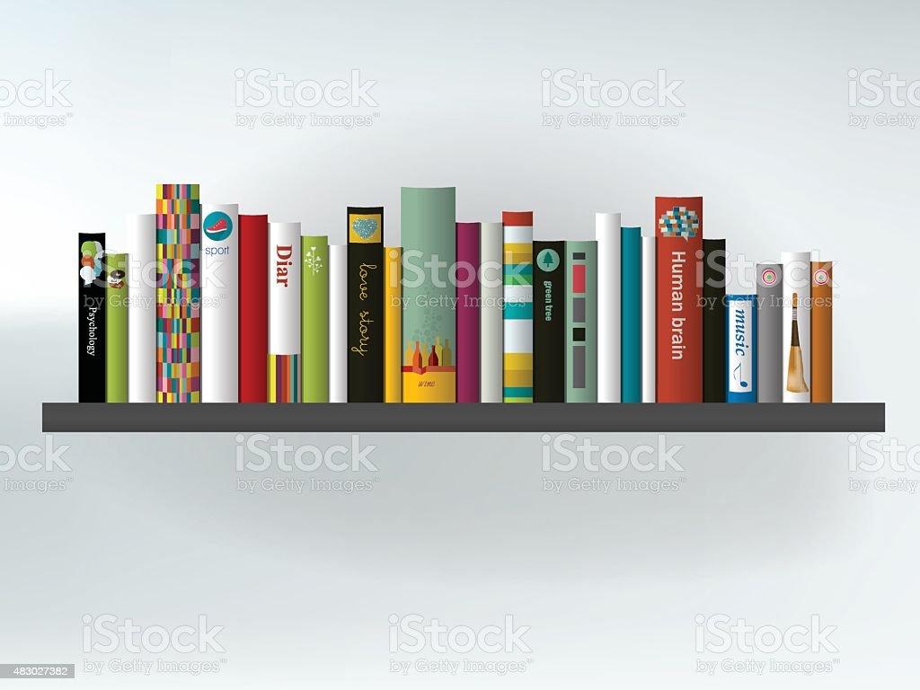 Book shelf. Interior concept.Vector background illustration. vector art illustration