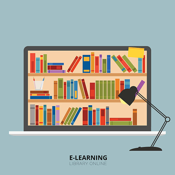 regal laptop buchen - bleistifthalter stock-grafiken, -clipart, -cartoons und -symbole