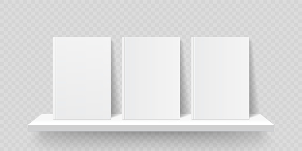 Book shelf mockup. Vector bookshelf wall with blank book front covers, brochure gallery shop shelves template