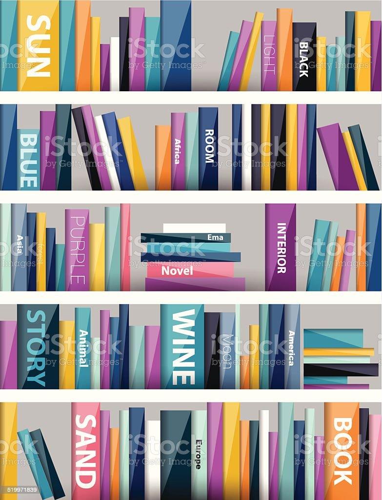 Book shelf. Plastic illustration. Vector. vector art illustration
