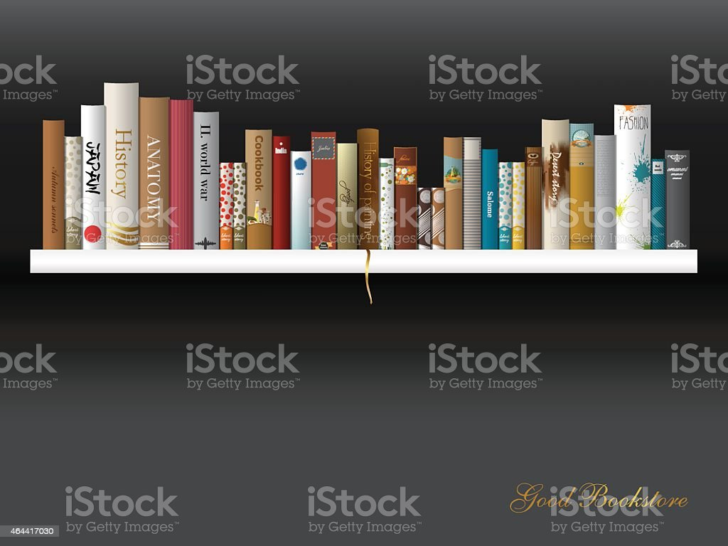 Book shelf. Vector illustration. Bookstore indoor. vector art illustration