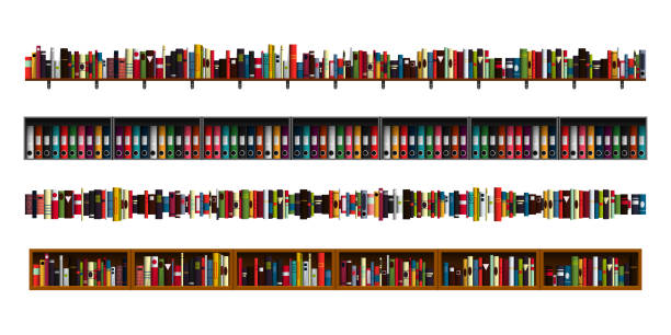 Book shelves borders set. Vertically seamless book shelves border design elements set. Vector illustration bookshelves divider for advertisement, web, game. Paper book, reading, education, office archive, library borders. book borders stock illustrations