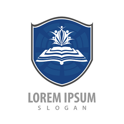 Book shield student logo concept design. Symbol graphic template element vector