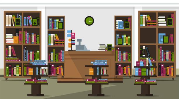 서점 플랫 벡터 일러스트 - 서점 stock illustrations