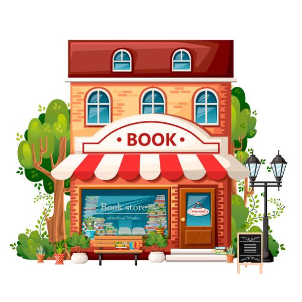 가 게 전면 보기를 예약. 도시 디자인 요소입니다. 만화 스타일 디자인입니다. 환영 로그인, 벤치, 가로등, 녹색 나무와 나무와 책 상점. 흰색 배경에서 벡터 일러스트 레이 션 - 서점 stock illustrations
