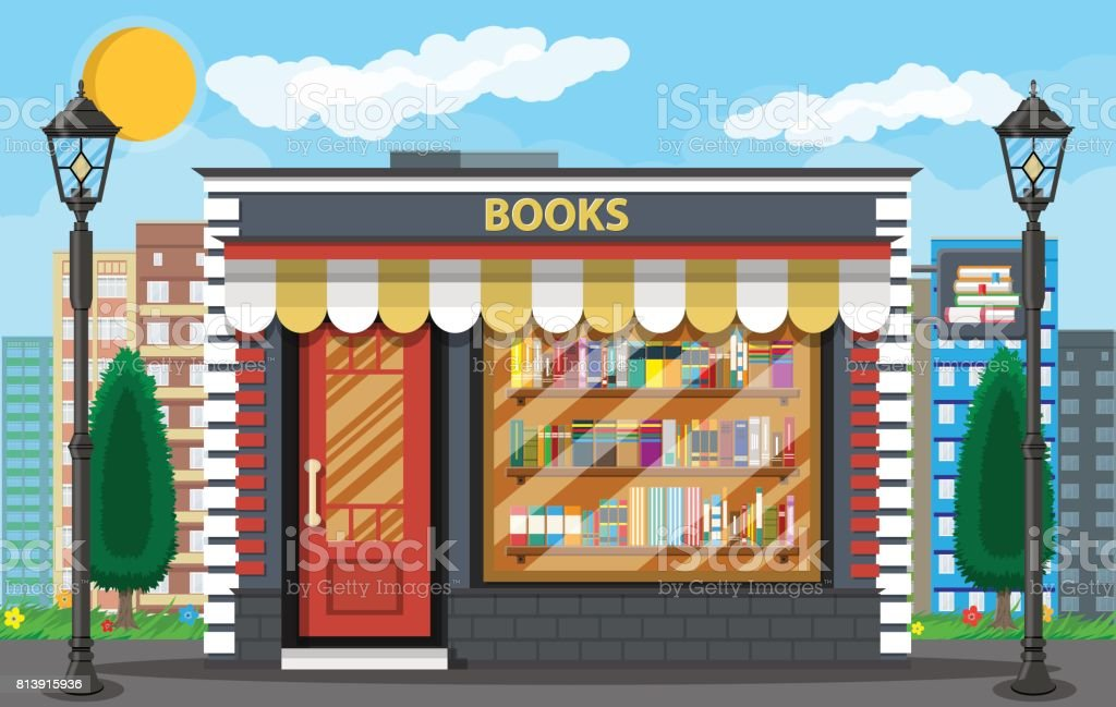 Book shop or store building and cityscape vector art illustration