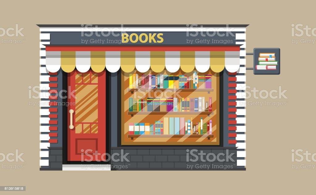 Book shop or store building. vector art illustration