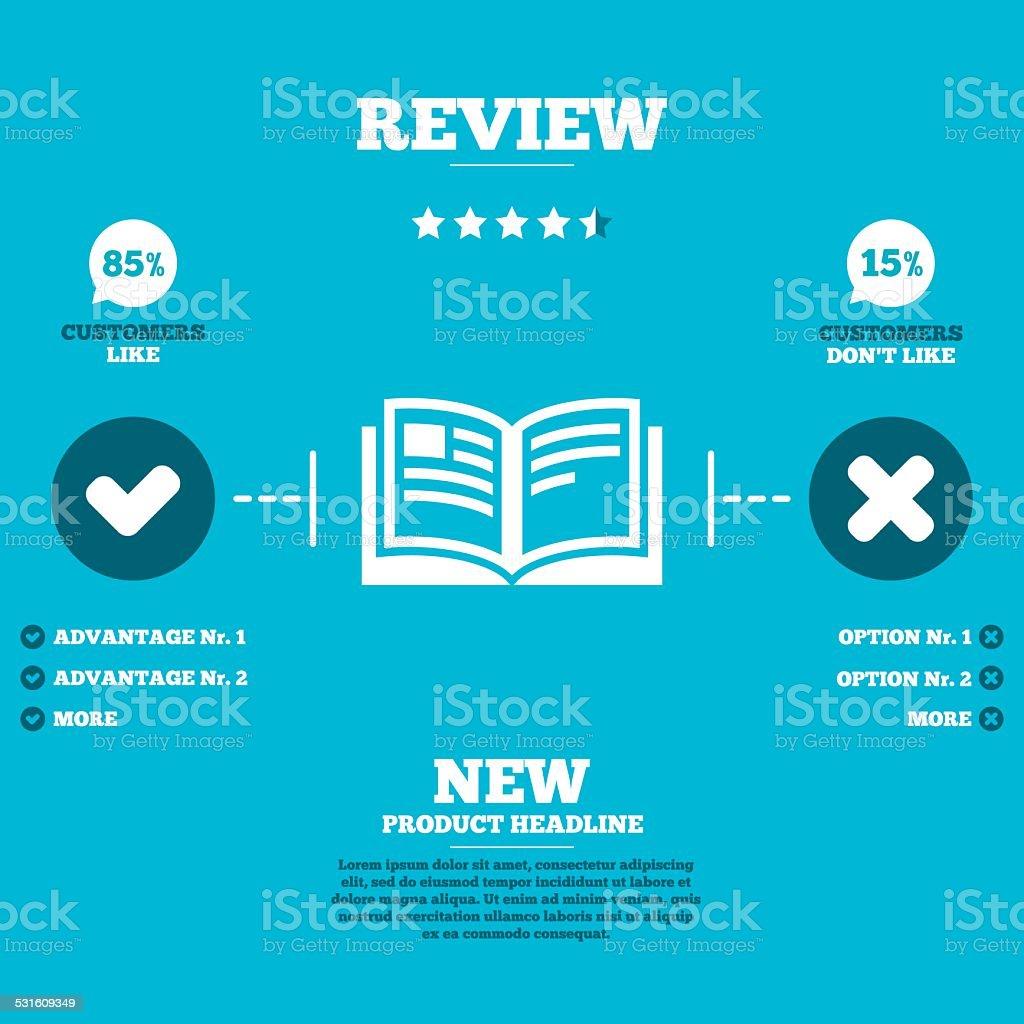 Book sign icon. Open book symbol. vector art illustration