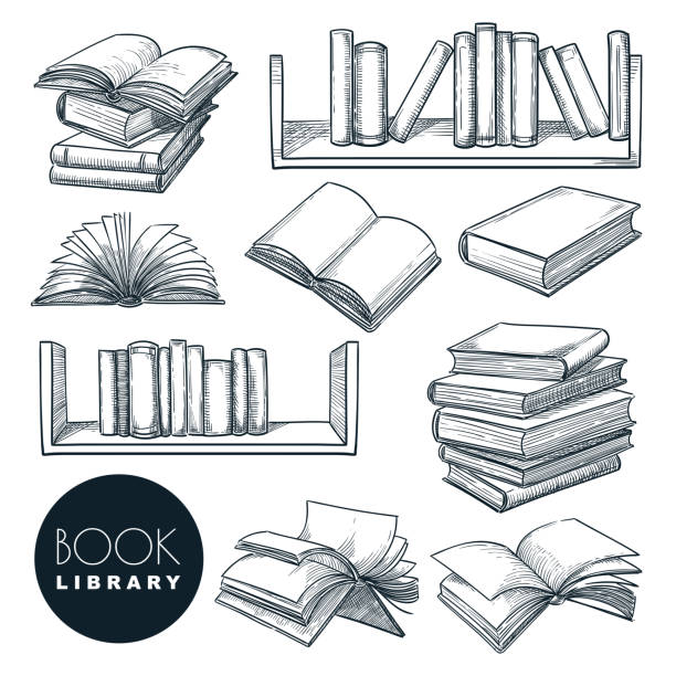 Book sketch vector illustration. Isolated hand drawn learning and education icons. Library or bookstore design elements Paper book sketch vector illustration. Isolated hand drawn learning and education icons set. Open and closed books collection on bookshelf. Library or bookstore vintage design elements. book drawings stock illustrations