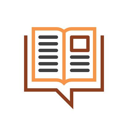 book speech bubble line icon