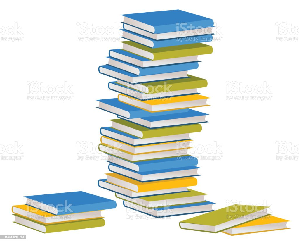 book stack or pile  illustration,  flat cartoon paper book stacked isolated vector art illustration