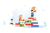 Book stacks stairs concept for primary education for children passing by. Path to success, levels of education, staff training, specialization, learning support. Vector illustration of scholarship