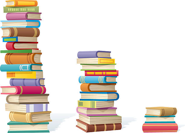 Book Stacks 3 stack of books different by height. No transparency used. Basic (linear) gradients... book clipart stock illustrations