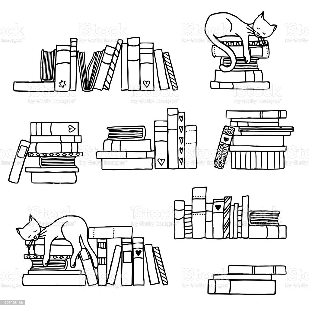Book stacks with cute sleeping cat royalty-free book stacks with cute sleeping cat stock vector art & more images of arts culture and entertainment