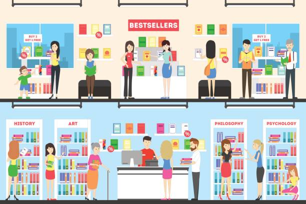 Book store interior set. vector art illustration