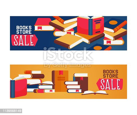 Book store sale set of banners, posters vector illustration. Pile of books, open and closed. Knowledge, learning and education. Brain. Studying literature. Reading concept. Shopping with discount.
