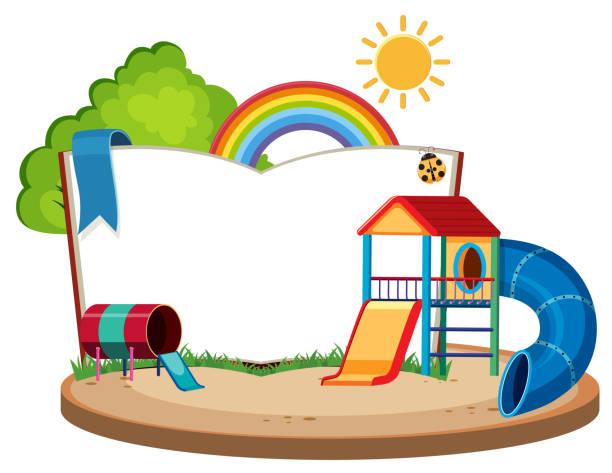 stockillustraties, clipart, cartoons en iconen met boek sjabloon met dia's in de speeltuin - board game outside