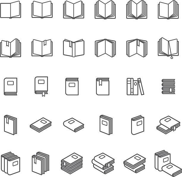 Book thin line icons Book thin line icons. Black book images on white background. Vector illustration book symbols stock illustrations