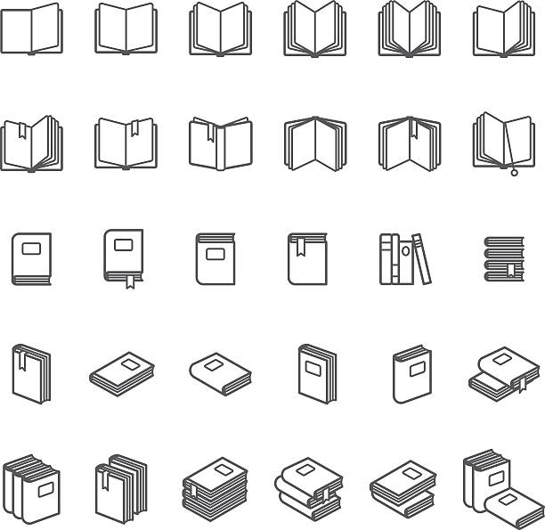 book thin line icons - book symbols stock illustrations