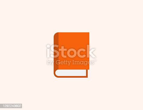 istock Book vector icon. Isolated Closed Book, Notebook with Orange Cover flat, colored illustration symbol - Vector 1292243602