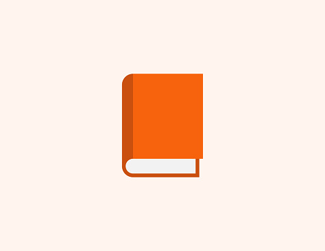 Book vector icon. Isolated Closed Book, Notebook with Orange Cover flat, colored illustration symbol - Vector