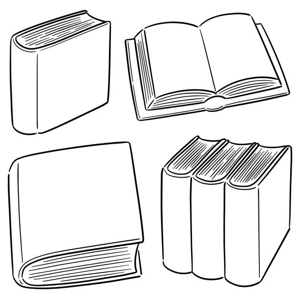 book vector set of book book drawings stock illustrations