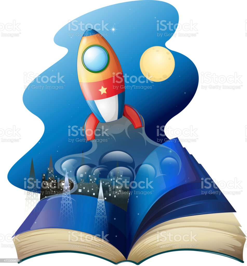 book with a rocket royalty-free stock vector art