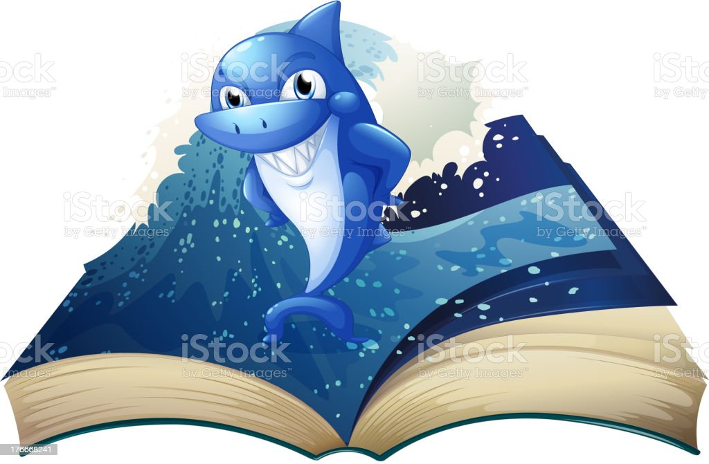 book with an image of a big smiling shark royalty-free book with an image of a big smiling shark stock vector art & more images of animal