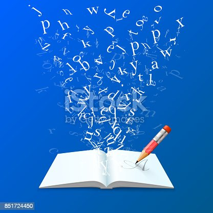 537761721 istock photo Book with flying letters art. 851724450