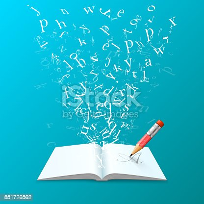 537761721 istock photo Book with flying letters art. 851726562