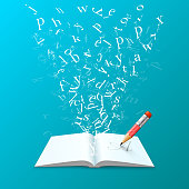 Book with flying letters art on the blue background. Vector illustration