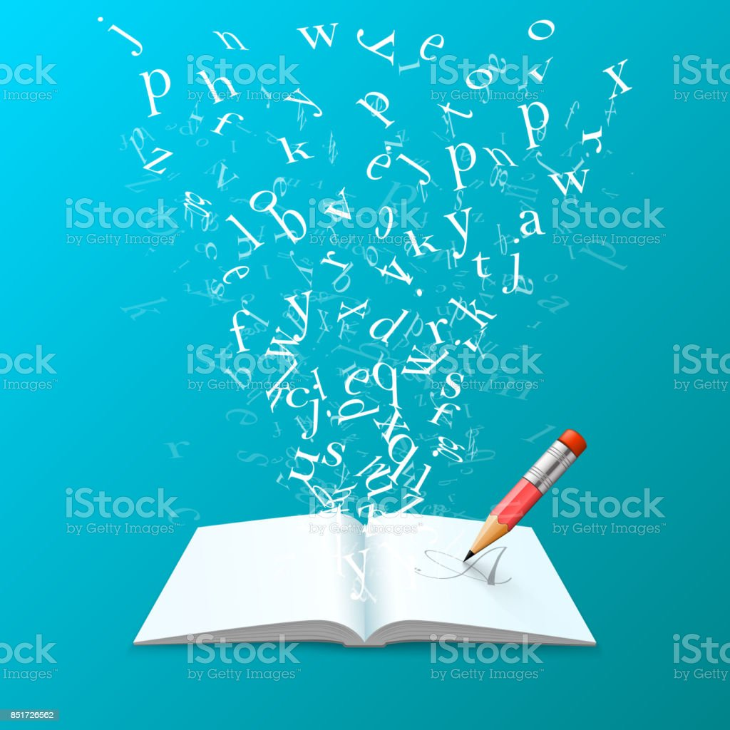Libro con arte de cartas de vuelo. - ilustración de arte vectorial