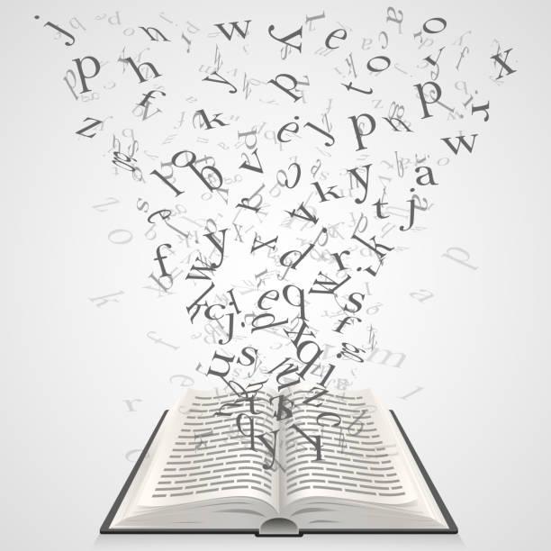 stockillustraties, clipart, cartoons en iconen met book with flying letters - eén woord