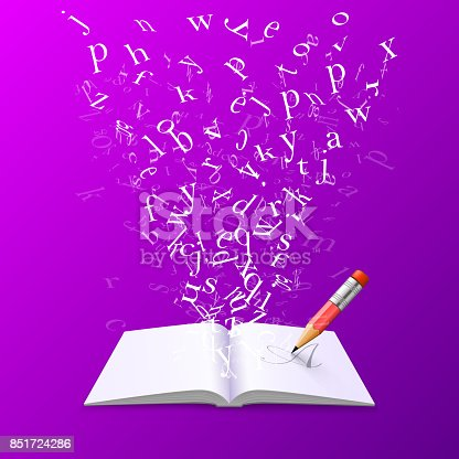 537761721 istock photo Book with flying letters. 851724286