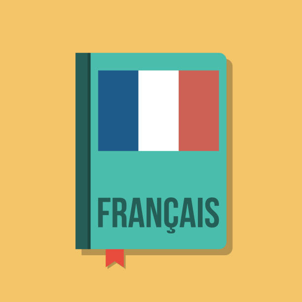 book with french flag and francais title, flat vector illustration book with french flag and francais title, flat vector illustration french language stock illustrations