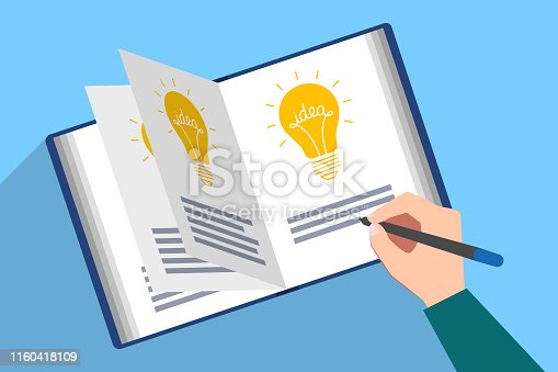 Book filled with picture of light bulb and the text of idea. Hand with pen are writing description of new genial idea. Generator of ideas, creative person, author creativity