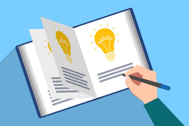 Book with ideas. Writing of new idea Book filled with picture of light bulb and the text of idea. Hand with pen are writing description of new genial idea. Generator of ideas, creative person, author creativity writing activity stock illustrations