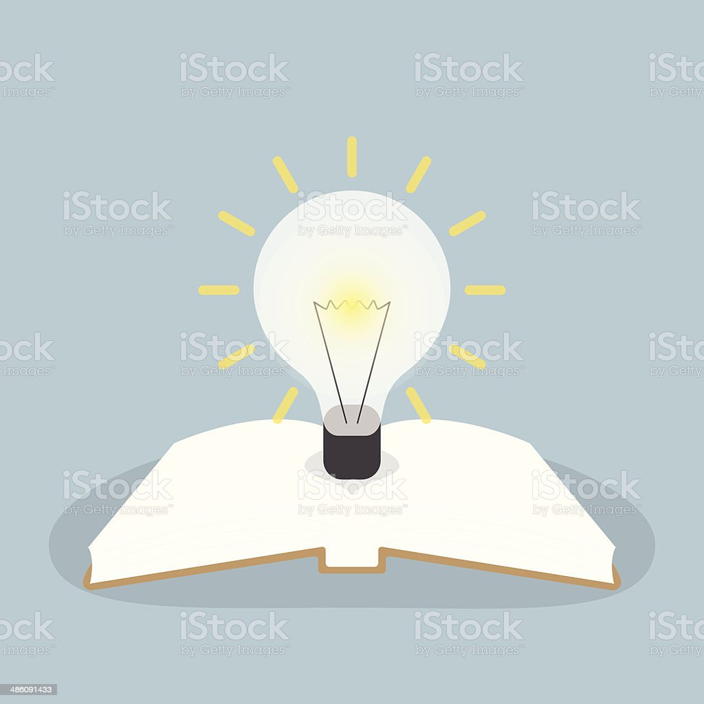 Book with light bulb royalty-free stock vector art