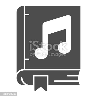 Book with music note solid icon, Sound design concept, musical literacy sign on white background, Music book icon in glyph style for mobile concept and web design. Vector graphics