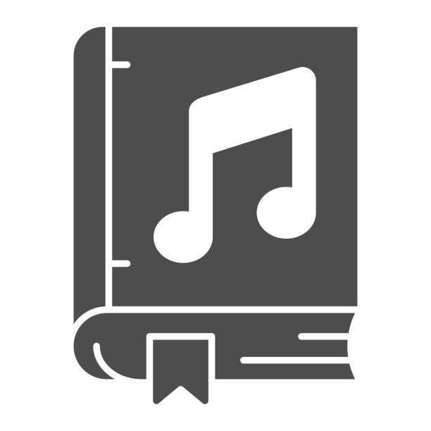 bildbanksillustrationer, clip art samt tecknat material och ikoner med bok med musik anteckning fast ikon, sound design koncept, musikalisk läskunnighet tecken på vit bakgrund, musik bok ikon i glyf stil för mobilt koncept och webbdesign. vektorgrafik. - komposition
