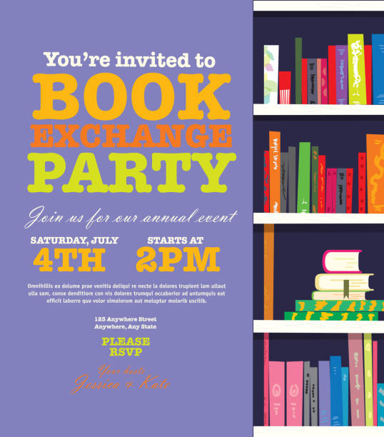 Book worm exchange event invitation design template Bookworm event exchange invitation design template. Includes open book and sample text design. Ideal for party, gathering or celebration book signing event. Vector illustration.  book club stock illustrations