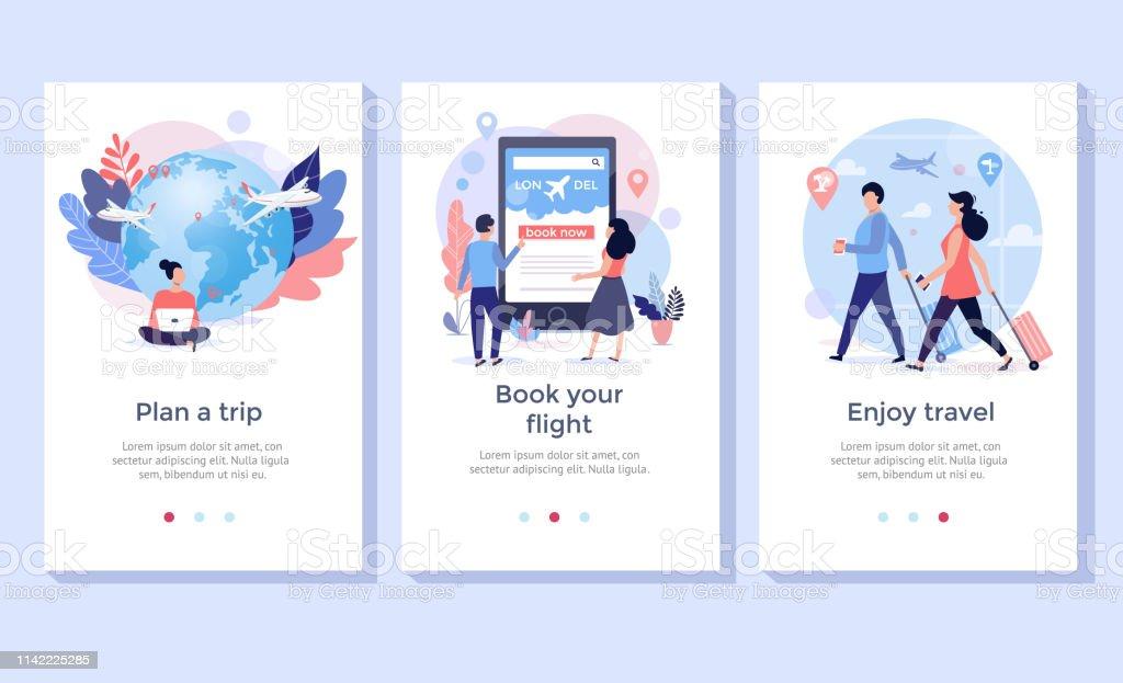 Buchen Sie Ihren Flug online Illustration Set. - Lizenzfrei Aussuchen Vektorgrafik