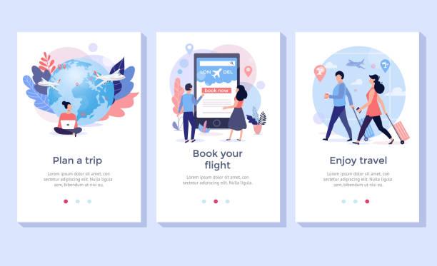 illustrations, cliparts, dessins animés et icônes de réservez votre vol ensemble d'illustration en ligne. - passager