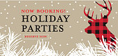 Vector illustration of a Book your holiday party greeting design banner with deer head. Easy to edit with layers. Plaid colors.