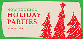 Vector illustration of a Book your holiday party greeting design banner with christmas trees. Easy to edit with layers. Retro colors.