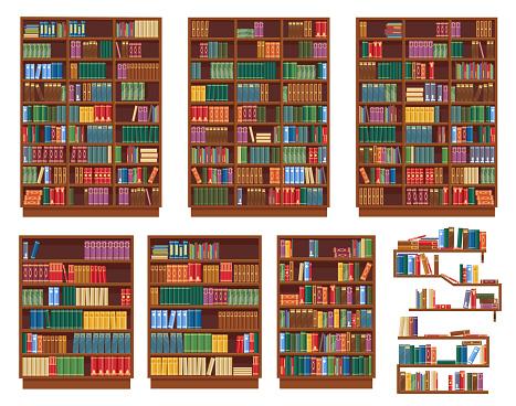 Bookcase, bookshelf with books, library shelves