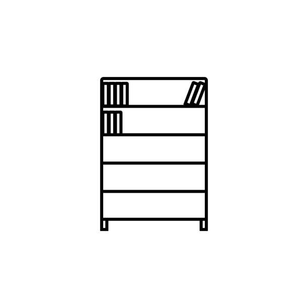 bücherregal. element der bildung symbol für mobile konzept und web-apps. dünne linie bücherregal für web und mobil einsetzbar - stapelbett stock-grafiken, -clipart, -cartoons und -symbole