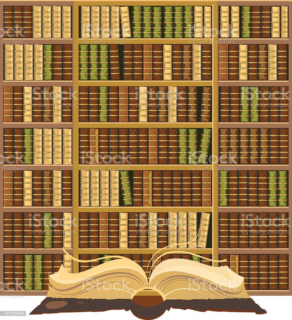 Bücherschrank mit alten Bücher – Vektorgrafik