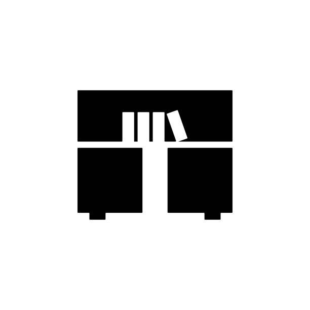 bücherregal-glyph-symbol. element der möbel-symbol für mobile konzept und web-apps. dieses bücherregal glyphe symbol einsetzbar für web und mobile. premium-symbol - stapelbett stock-grafiken, -clipart, -cartoons und -symbole